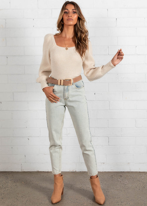 Charlee Knit Top - Cream