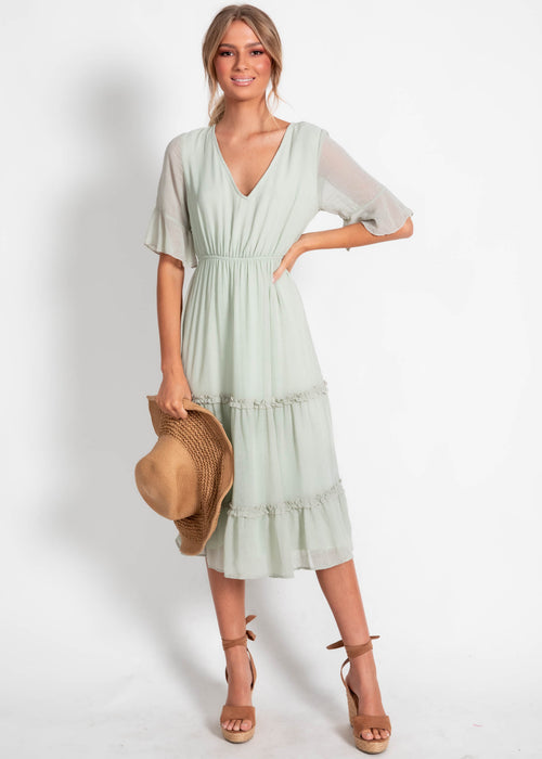 Ivy Hollow Midi Dress - Mint