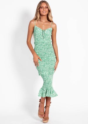 Sincerely Yours Midi Dress - Green Floral