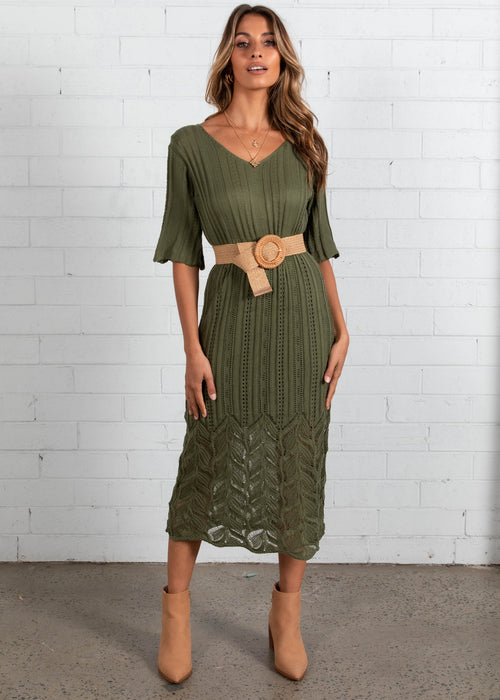 Avery Knit Midi Dress - Khaki