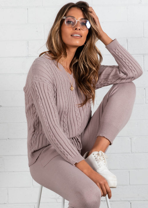 Mollie Knit Set - Mauve