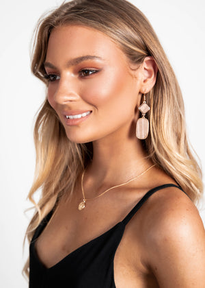 Georgia Wooden Earrings - Tan/Gold