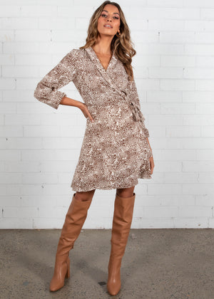 Heart Of Gold Wrap Dress - Snow Leopard