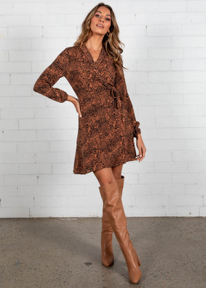 Heart Of Gold Wrap Dress - Bronze Leopard