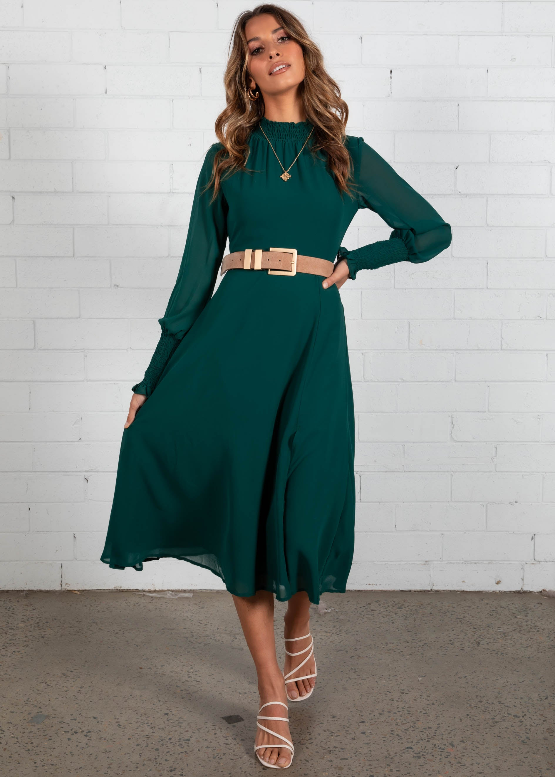 Lost Days Midi Dress - Emerald