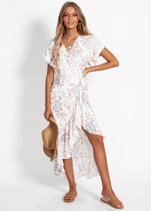 Tamika Wrap Midi Dress - White Floral