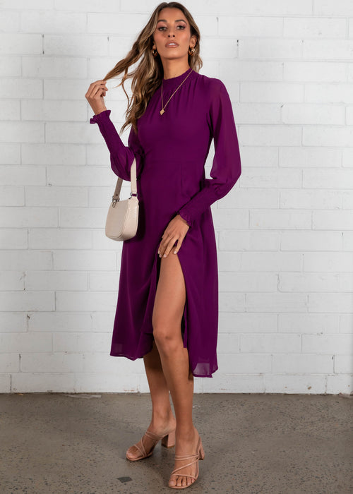 Lost Days Midi Dress - Plum