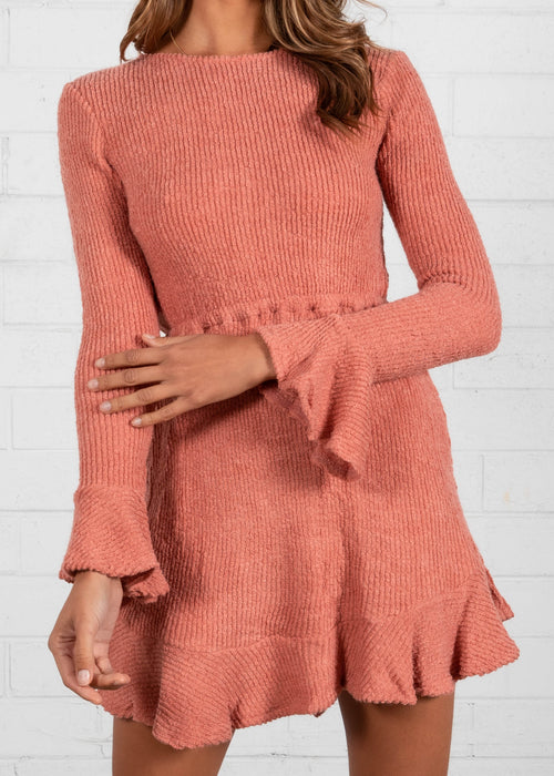 First Thought Knit Dress - Rose