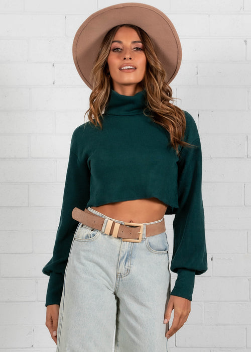 Tiani Cropped Sweater - Emerald