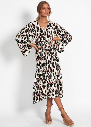 Lenon Midi Dress - Leopard