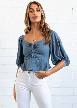 Milah Off Shoulder Top - Midnight Blue