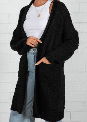 Crystal Heart Cardigan - Black