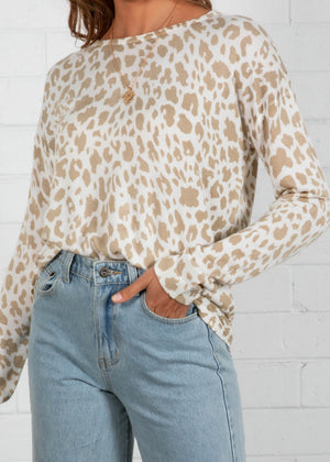 Baywood Light Sweater - Beige Leopard