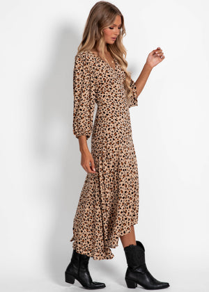 Bryony Wrap Midi Dress - Leopard