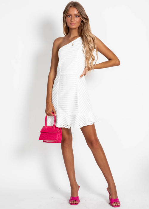 Nina One Shoulder Dress - White