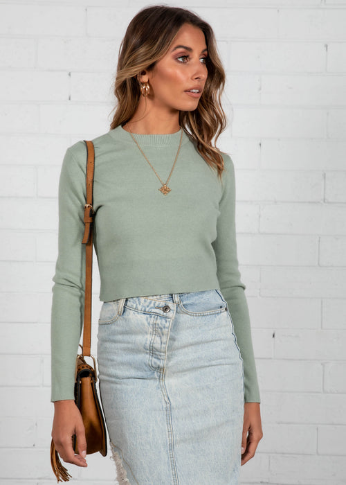 Steely Cropped Sweater - Sage
