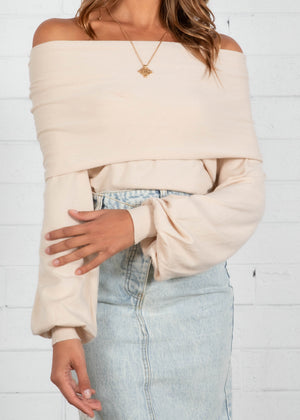 Zuri Off The Shoulder Knit Top - Cream