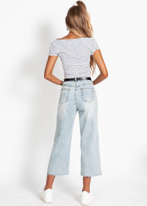 Cyndi Crop - White Stripe