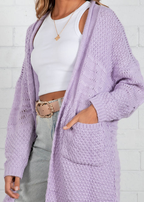 Crystal Heart Cardigan - Lilac