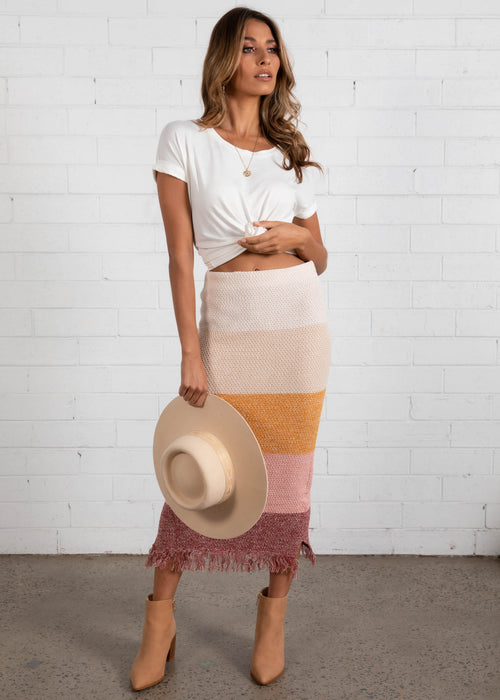 Pampas Knit Maxi Skirt - Sunset