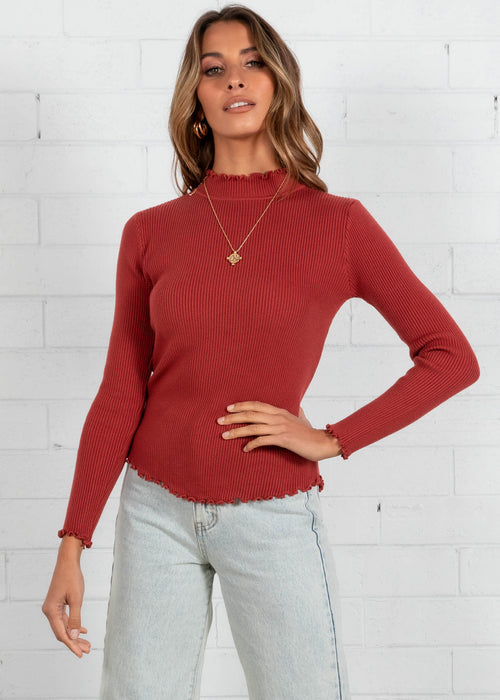 Radiance Knit Top - Cherry
