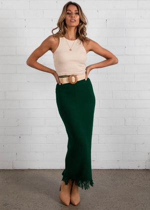 Pampas Knit Maxi Skirt - Forest Green