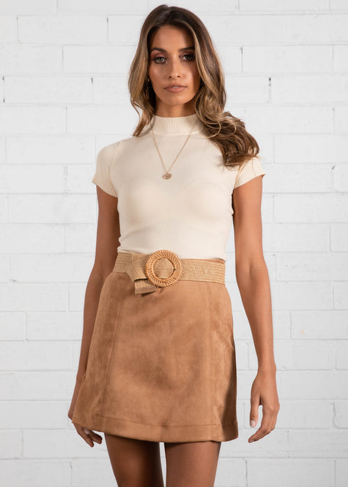 M.I.A Suede Look Skirt - Camel