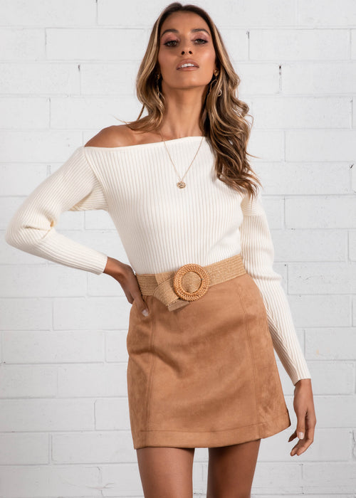 Shania One Shoulder Knit Top - Cream