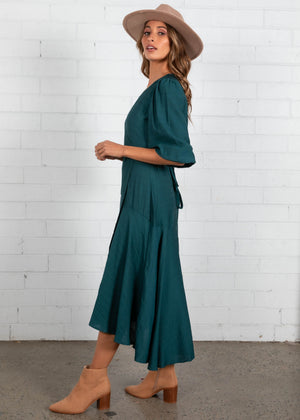 Estelle Wrap Maxi Dress - Emerald