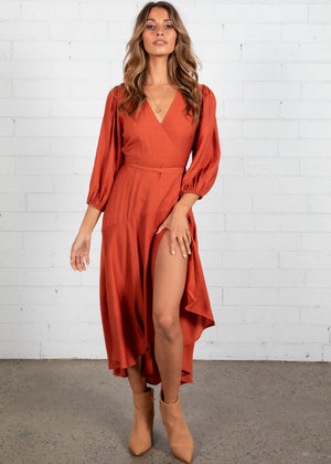 Estelle Wrap Maxi Dress - Rust