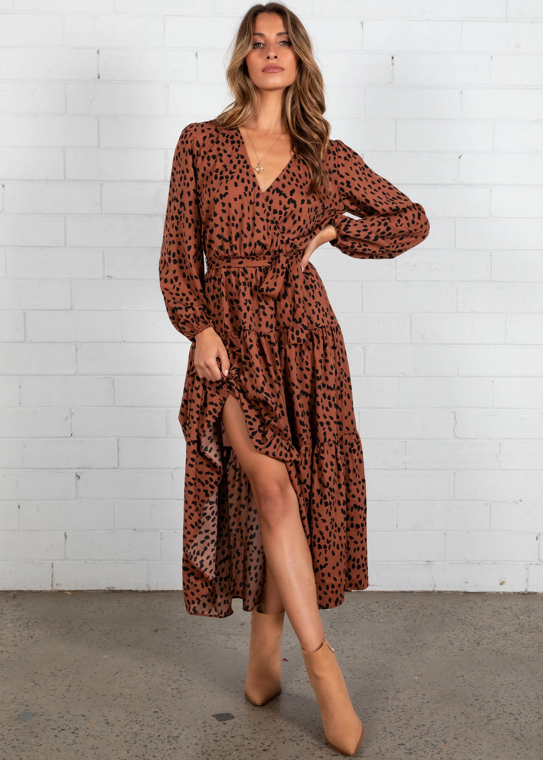 Freya Maxi Dress - Rust Leopard