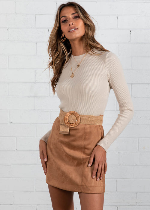 Momento Knit Top  - Beige