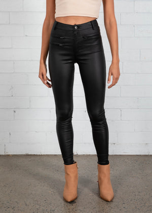 Grayson Leather Look Jeans - Black