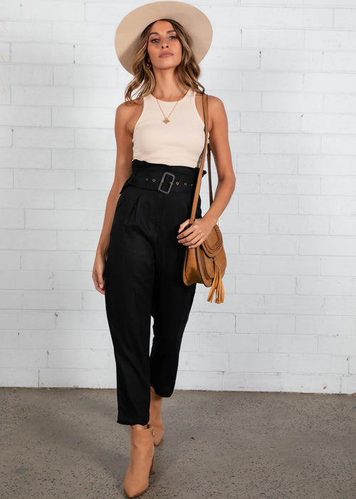 Effie High Waisted Pants - Black