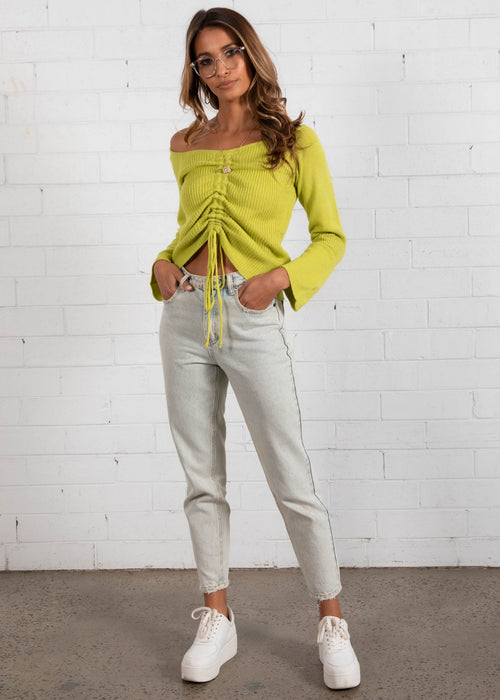 Zali Ruched Knit Top - Lime