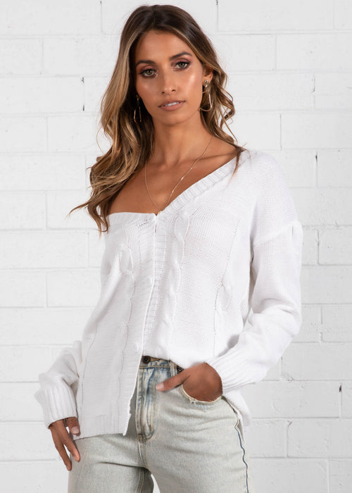 Wayside Buttoned Cardi - White