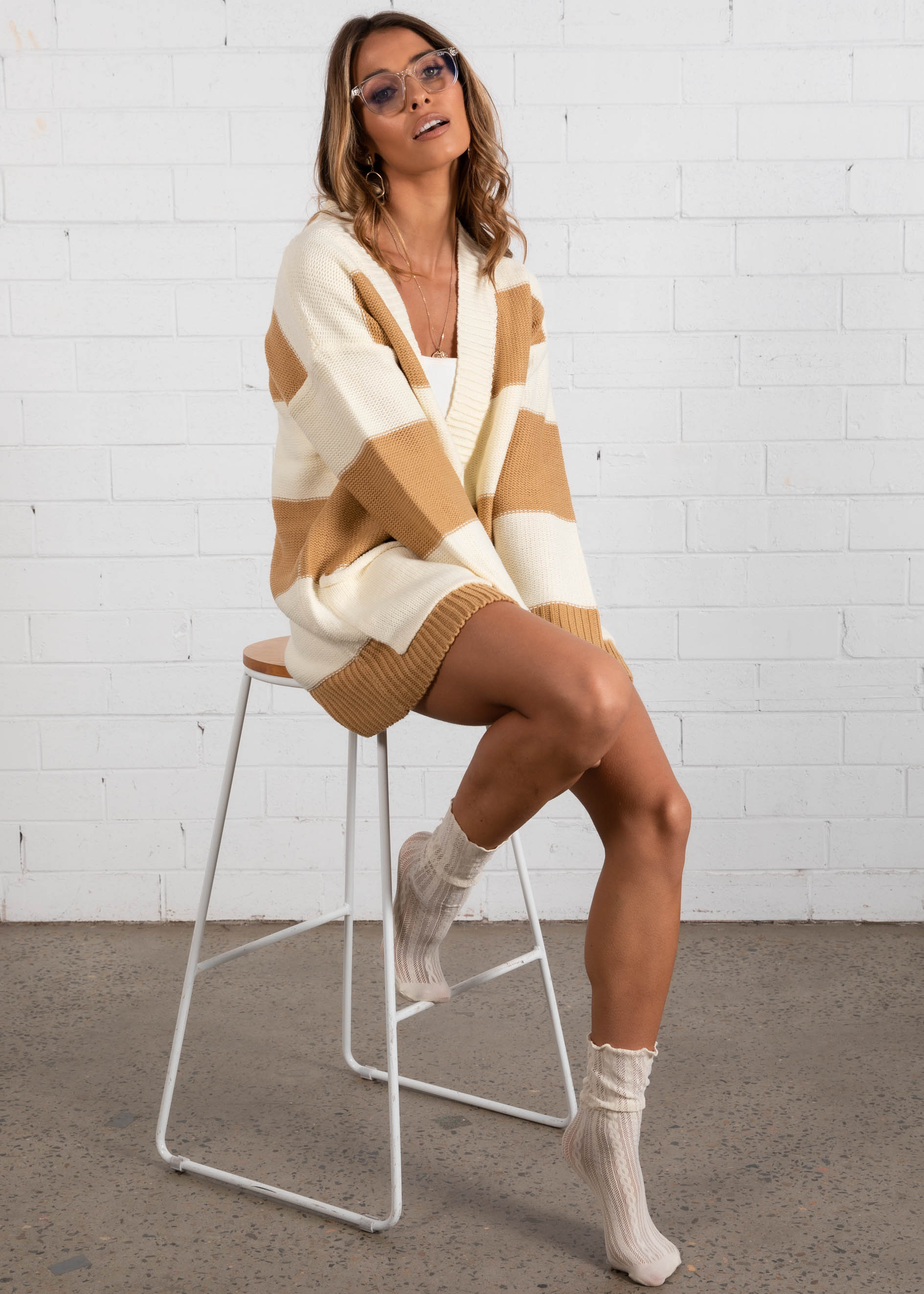 Monaco Buttoned Cardi - Tan/Cream