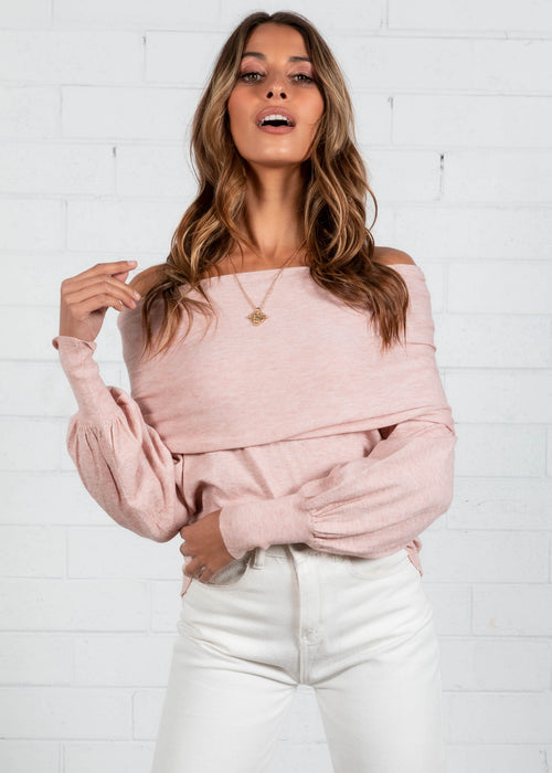 Zuri Off The Shoulder Knit Top - Blush