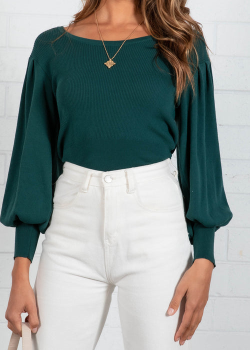 Orlina Knit Top - Emerald