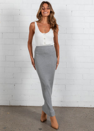 Binni Knit Maxi Skirt - Grey