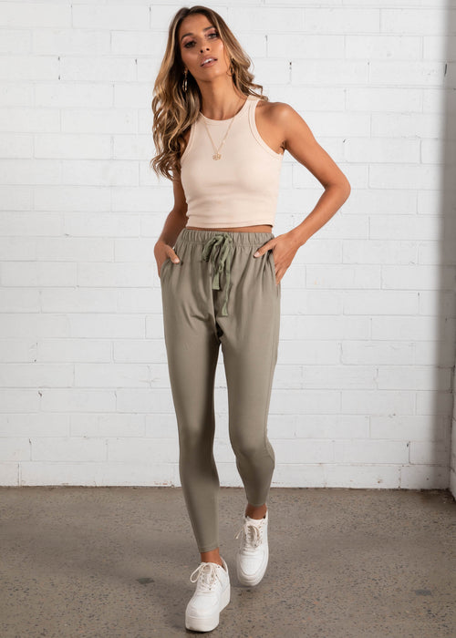 Sylvi Drop Crotch Pants - Khaki