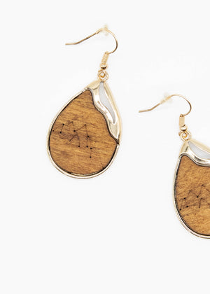 Everest Wooden Earrings - Tan/Gold