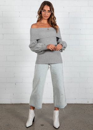 Losing It Off Shoulder Knit - Grey