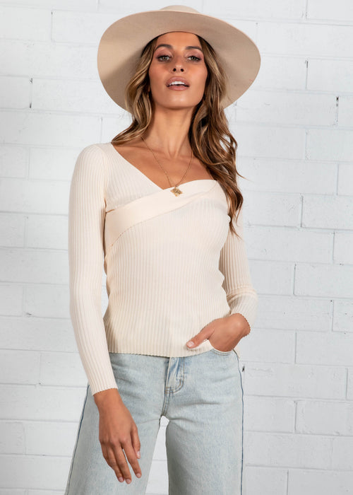Tallow Rib Knit Top - Cream