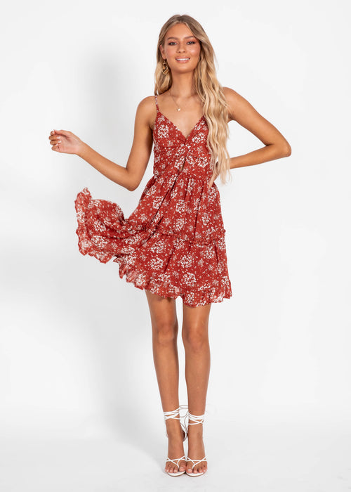 Pure Heart Dress - Rust Floral