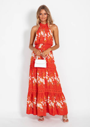 New Memories Maxi Dress - Red Floral