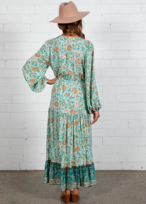 Jewel Mountain Maxi Dress - Emerald Floral