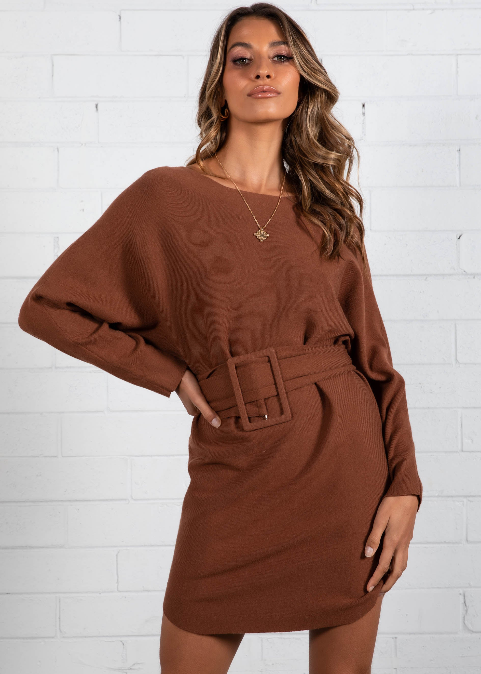 Miina Belted Knit Dress - Coffee