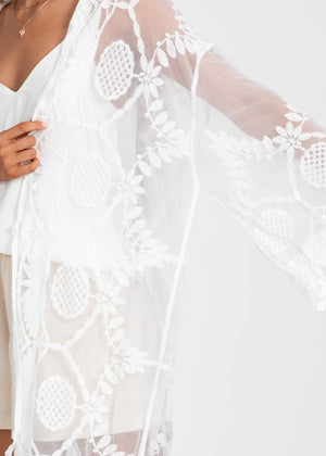 Shining In The Moonlight Lace Cape - White