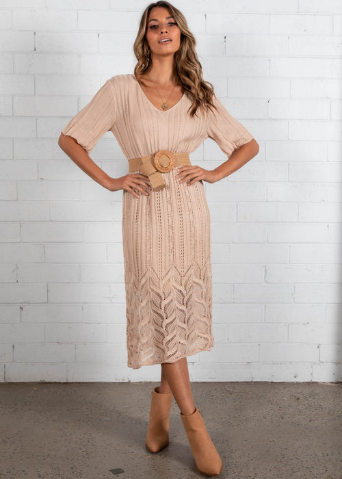 Avery Knit Midi Dress - Beige